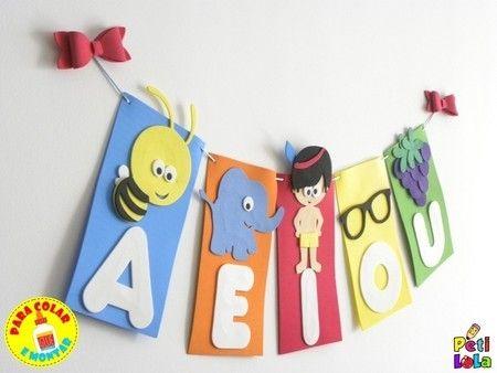 Cartaz Vogais para sala de aula - para colar e montar | Sala de ...