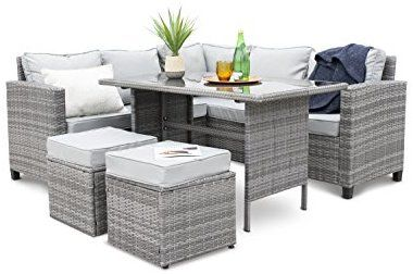 Amazon Com Modern 5 Piece Outdoor Furniture Dining Set Patio Rattan Table And Chairs G Outdoor Wicker Patio Furniture Patio Furniture Sets Outdoor Furniture