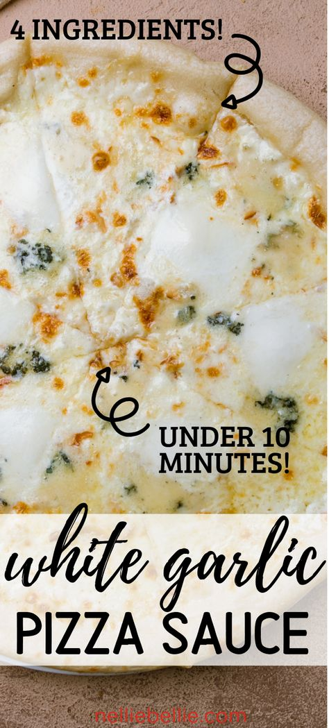 Creamy White Garlic Pizza Sauce --- under 10 minutes! Creamy White Garlic Pizza Sauce --- under 10 minutes! Only 4 ingredients for this creamy white garlic pizza sauce made in under 10 minutes. Sauce Recipes, Cooking Recipes, Beef Recipes, Chicken Recipes, Recipies, Food Porn, Italian Recipes, White Pizza Recipes, Recipe For White Pizza Sauce