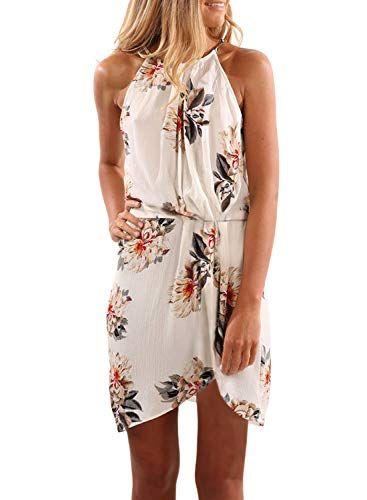 e22bf634b5fd4 Asvivid Womens Halter Floral Printed Sleeveless High Waist High Low ...