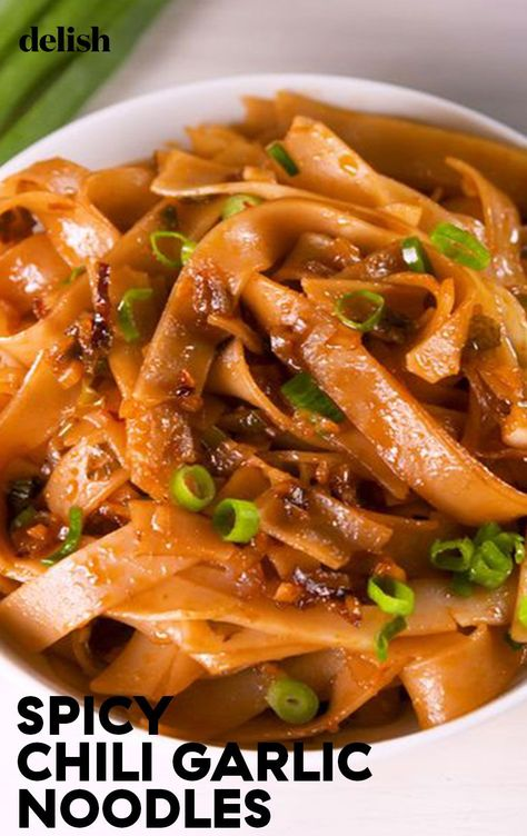 Spicy Chili Garlic Noodles | Delish | The sauce for these noodles come together in less time than it takes your pasta water to boil. This dish is easy, fast, and spicy. Adjust the chili garlic sauce as you like, but we love the sweet heat of this dish as is. Give our Asian Chicken Noodle Soup a try next. Editor's Note: The recipe title for this dish was changed on July 9, 2020.