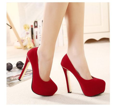 - Party stiletto pump heels for a stunning style - Beautiful detailed heel for a unique look - Comfortable breathable upper - Made from suede - 8.5 cm heel height - 3.5 cm platform - Available in 2 colors