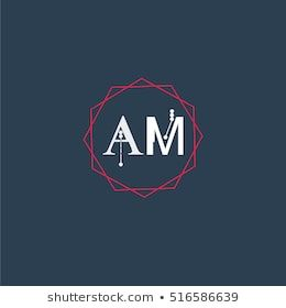 Am Logo Initial Letter Abstract Polygonal Background Logo Design