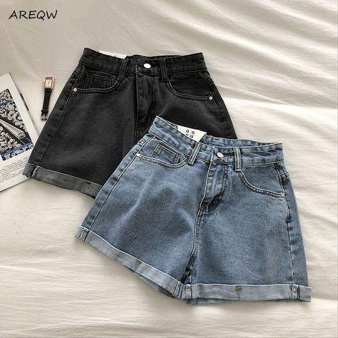 33.73US $  AREQW Summer Shorts Women Single Button High quality Korean Style Womens Denim Shorts 2020 New Black Denim Shorts Shorts    - AliExpress