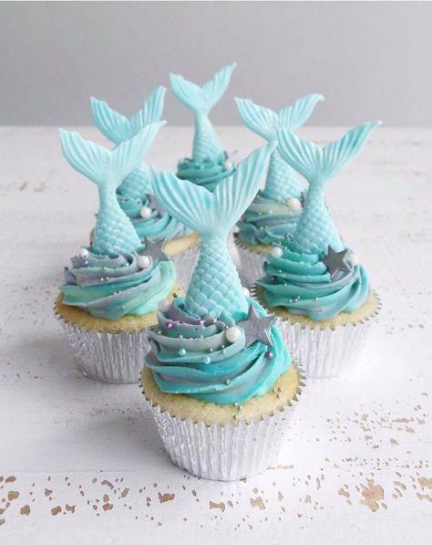 Vanilla Raspberry Mermaid Cupcakes