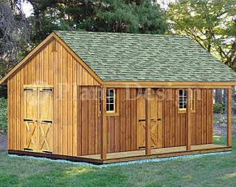 Garden Gazebo Man Cave She Shed Building Plans I Hip Roof 10 Etsy In 2020 Shed With Porch Shed Building Plans Shed