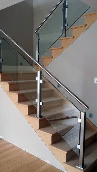 Top 70 Best Basement Stairs Ideas Staircase Designs Home   Staircase Handrail Glass Designs   Crystal   Work   Steel   White Modern Glass   Stairs Side Grill