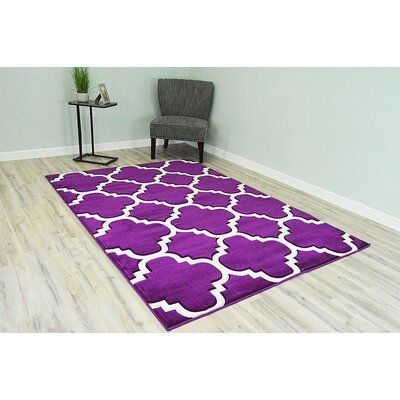 Ivy Bronx Mccampbell Purple White Area Rug Rug Size Rectangle 3 9