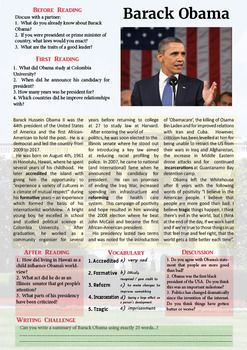 Barack Obama Fun Reading Comprehension Activitie Essay About Biography On Leadership President