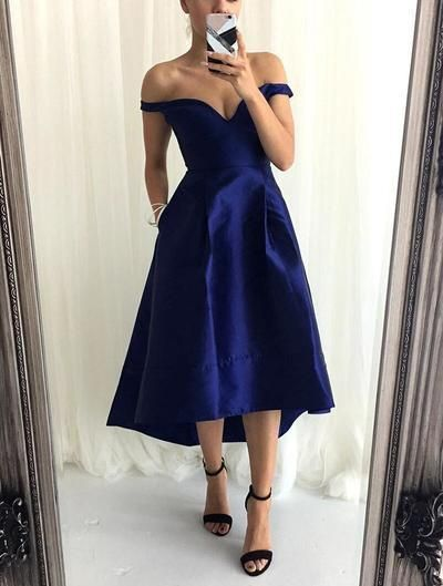 Navy Blue Evening Dress Off The Shoulder Tea Length Prom Party Dress In 2020 Short Bridesmaid Dresses High Low Bridesmaid Dresses Blue Evening Dresses
