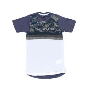 Camiseta Manga Curta Gangster Juvenil para Menino Cinza