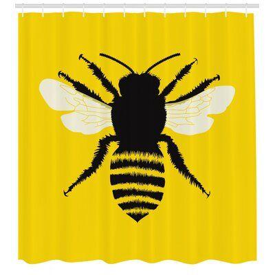 East Urban Home Queen Bee Shower Curtain Set Hooks Shower