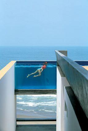 Ocean Front Roof-Top Pool, Malibu, California.