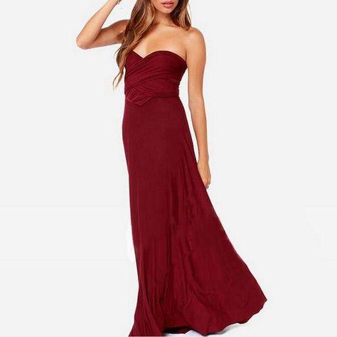 45c7e33af37 Sexy Femmes Multivoies Wrap Convertible Boho Maxi Club Rouge Robe Bandage Robe  Longue Partie Demoiselles D honneur Infinity Robe Longue Femme dans Robes  de ...