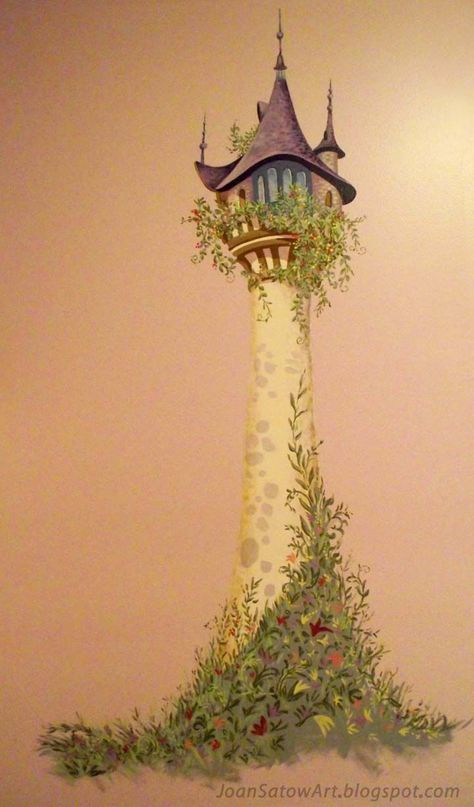 """Wall Mural for a girl's bedroom; inspired by Disney's® Movie, """"Tangled"""" depicting Rapunzel's tower. Close-up detail of the top of.... Disney Princess Wall Mural 
