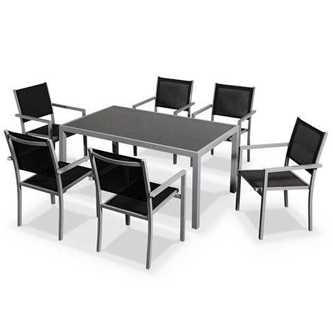 Salon De Jardin Capua En Aluminium Table 150cm 6 Fauteuils En