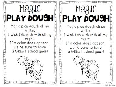 Magic Play Dough. Great first day of school activity and the poem could be the first in our poetry station. Now to find the time to make this...
