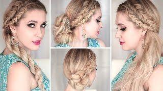 Summer hairstyles: dutch braids, bubble ponytail bun hair tutorial.