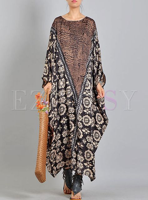 Shop for high quality Silk Print Batwing Plus Size Dress online at cheap prices and discover fashion at Ezpopsy.com
