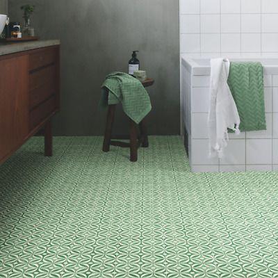Grey Blue Encaustic Cement Tile Effect Sheet Vinyl Flooring Kitchen Lino Roll