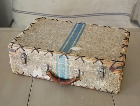 vintage wood suitcase with blue stripe from FrogGoesToMarket on etsy