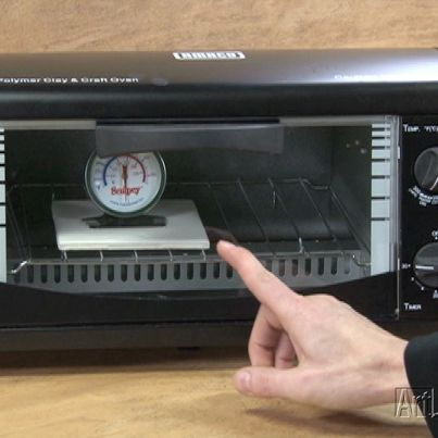 See how to calibrate a toaster oven for curing polymer clay jewelry.    http://art.jewelrymakingmagazines.com/Videos/Tools/2011/01/Calibrating%20a%20toaster%20oven.aspx