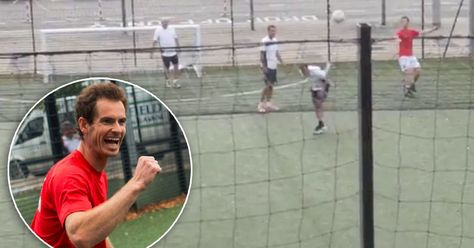 Andy Murray tries his hand at football  and scores an audacious lob from his OWN AREA