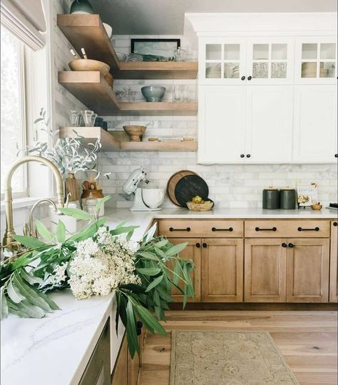 This kitchen is bringing out all my earthy vibes this morning and I love it! The beautiful contrast of the natural wood to bright white is just everything! #kitcheninspiration #kitchendesign #interiors Home Kitchens, Light Wood Cabinets, Kitchen Remodel, Kitchen Design, Kitchen Inspirations, Home Decor Kitchen, Kitchen Interior, Kitchen Redo, Modern Farmhouse Kitchens