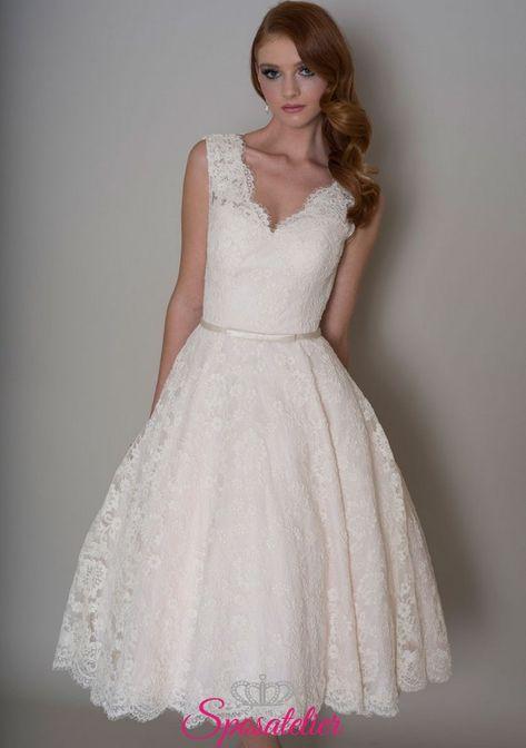 Vestiti Eleganti Per Matrimonio.Abiti Da Sposa Corto In Pizzo Elegante Per Matrimonio Civile