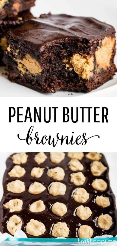 Fudgy brownies with layers of peanut butter and topped with a rich chocolate ganache. These chocolate peanut butter brownies are dangerously delicious! butter Desserts EASY Peanut Butter Brownies with Ganache - I Heart Naptime Dessert Oreo, Brownie Desserts, Dessert Bars, Chocolate Desserts, Just Desserts, Delicious Desserts, Delicious Chocolate, Chocolate Peanut Butter Brownies, Peanut Butter Desserts