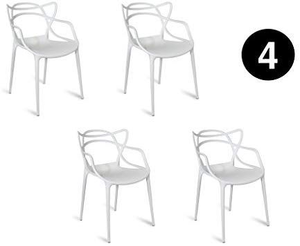 Ibh Design Lot 4 Chaises Miami Blanches Inspiree Masters Amazon Fr Cuisine Maison Chaise Salle A Manger Chaise Masters Chaise