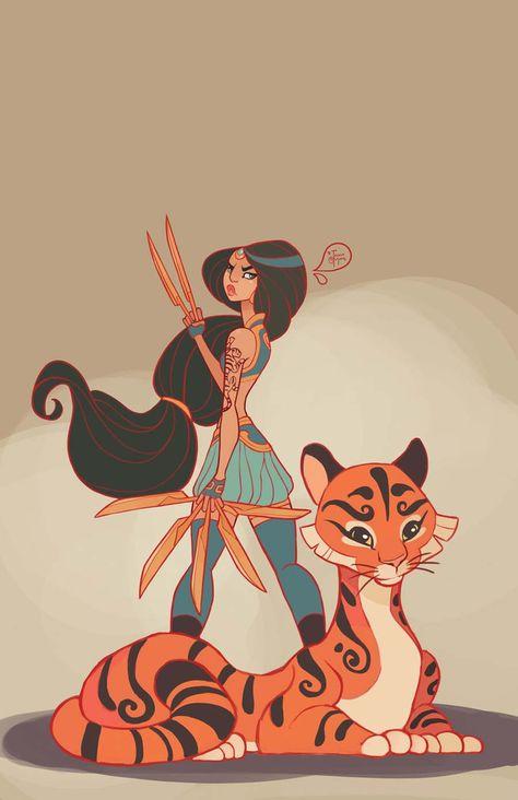 """A artista americana Jessica Madorran é fã de Disney desde pequena, começou a ilustrar uma série de Princesas Disney guerreiras.  Cada uma ganhou umaarma diferente, que combina com a históriae personalidade delas. Achei gracinha também as""""participações especiais"""", como o Linguado com a Ariel e o Rajah da Jasmine. #PrincesasDisney #guerreiras #Princesas #Disney"""