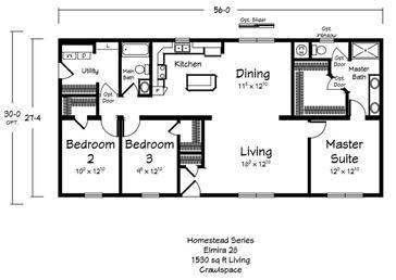 Less Than 1500 Sqft Floor Plans 3 Bedroom 2 Bathroom Crawlspace Plan Floor Plans Custom Modular Homes Modular Home Builders