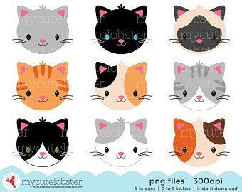 Cat Clip Art Cute Cat Clipart Kitten Kitty Clipart Cat Graphic Illustration White Black Orange Grey Cat Digital Sticker Clipart Clip Art Cute Animal Clipart Cat Clipart Grey Cats