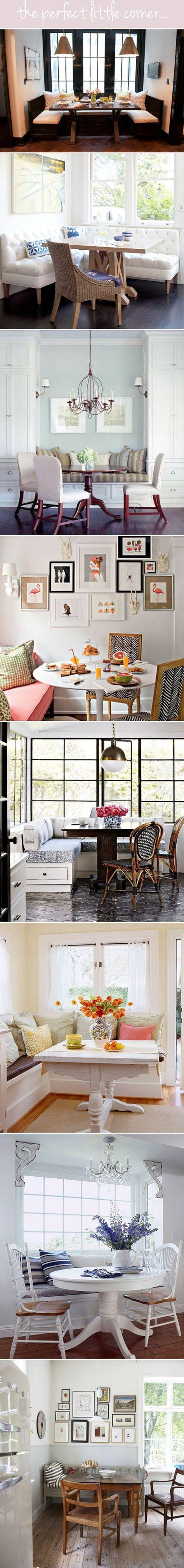 Beautiful Breakfast nooks. Love the zigzag chair one.