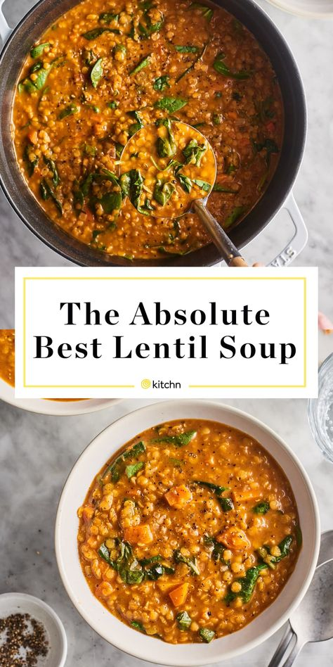 Lentil soup is a culinary wonder — it is creamy without any dairy, warmly spiced, and easy to make from a handful of kitchen staples. Best Lentil Soup Recipe, Vegan Recipes, Cooking Recipes, Healthy Lentil Recipes, Healthy Lentil Soup, Lentil Meals, Best Soup Recipes, Veggie Soup Recipes, Vegetarian Recipes Lentils