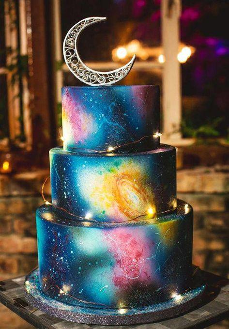 Inspired Image of Galaxy Birthday Cake Imagen inspirada de Galaxy Birthday Cake Galaxy Birthday Cake Eclectic Galaxy Print Wedding Cake Astronomy Theme Moon Cake