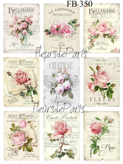 ~ Shabby Chic Vintage French Pink Roses 4 Prints on Fabric Quilting FB 312 ~
