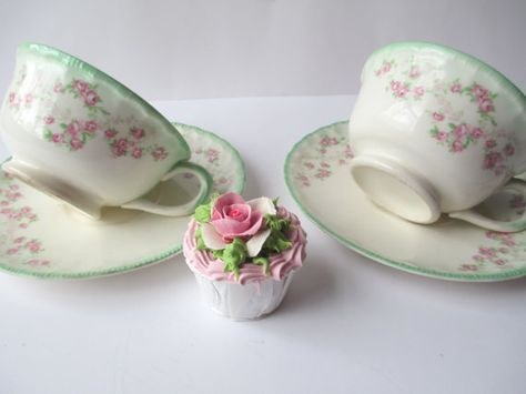 Lovely Vintage Pope Gosser Pink Green Rose Teacups by thechinagirl