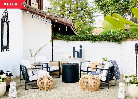 """On Sunday, the final day of their project, the family put together their chairs (from Target), added in their new fire pit (also Target), and got a hand hanging some extremely atmospheric bistro lights. """"By Sunday afternoon we were roasting marshmallows and enjoying our space!"""" Laura says."""