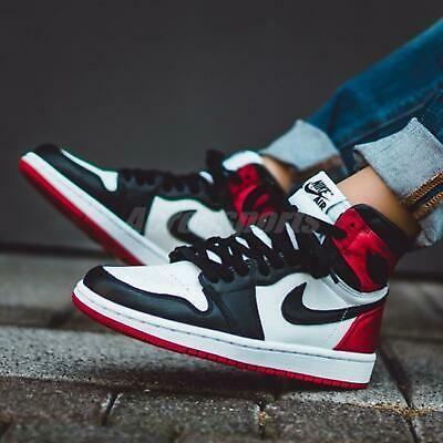 Details About Nike Wmns Air Jordan 1 High Og I Aj1 Satin Black Toe