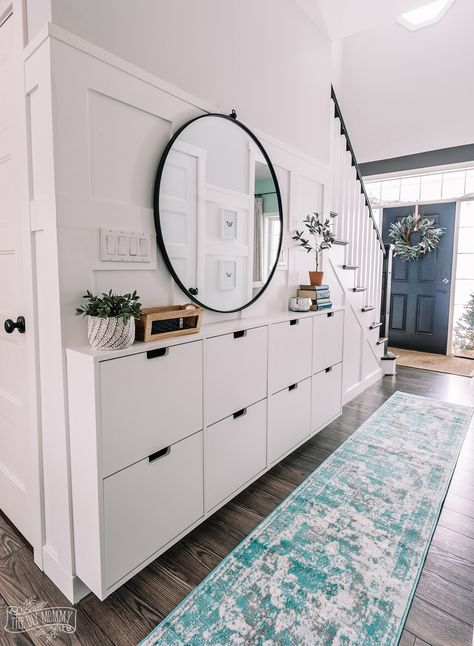 shoe storage Small Entryway Makeover using Ikea Stall shoe storage and DIY board amp; Ikea Shoe Cabinet, Hallway Walls, Hallway Wall Decor, Small Entryway, Shoe Storage, Entry Hallway, Entryway Shoe Storage, Home Decor, Small Hallways