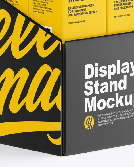 Plastic Display Stand W Boxes Mockup In Indoor Advertising Mockups On Yellow Images Object Mockups In 2021 Plastic Display Stands Box Mockup Display Stand