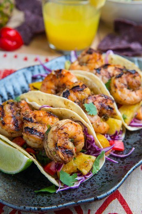 Jerk Shrimp Tacos with Pineapple Salsa, Slaw and Pina Colada Crema