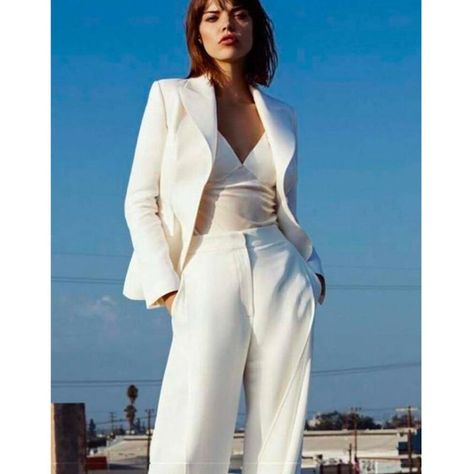 Item#2001 - Women's White Two-Piece Business Suit with Peak Lapels - White
