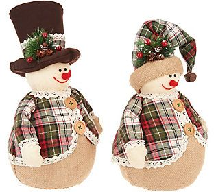 Qvc Christmas Gifts 2020 Set of 2 Snowmen with Hats and Plaid Coats by Valerie   QVC.in