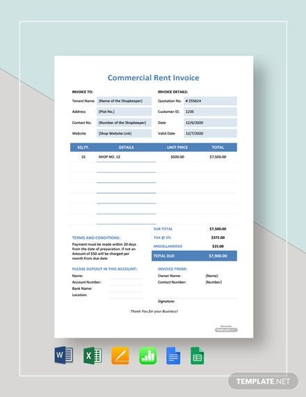 Commercial Rent Invoice Template Free Pdf Word Excel Apple Pages Google Docs Google Sheets Apple Numbers Invoice Template Invoice Design Template Templates
