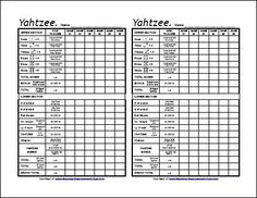 Free Printable Yahtzee Score Sheets Need This For Family Game