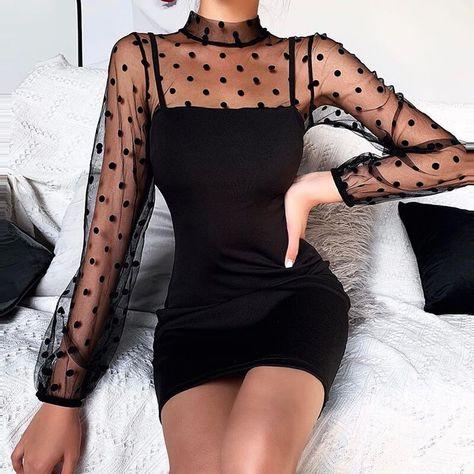 Polka dots long sleeves black dress