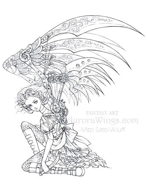 Coloring fairies and angels on pinterest fairy coloring for Dark angel coloring pages